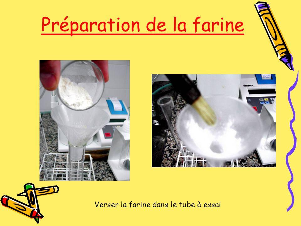 Préparation de la farine Verser la farine dans le tube à essai