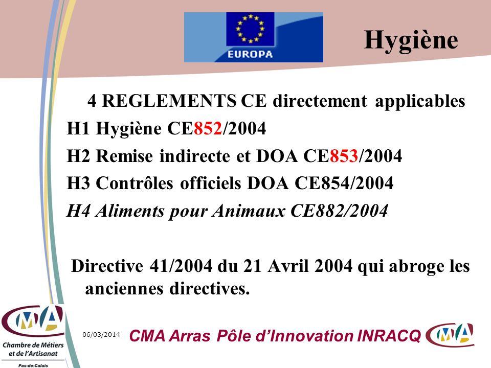 06/03/20141 4 REGLEMENTS CE directement applicables H1 Hygiène CE852/2004 H2 Remise indirecte et DOA CE853/2004 H3 Contrôles officiels DOA CE854/2004
