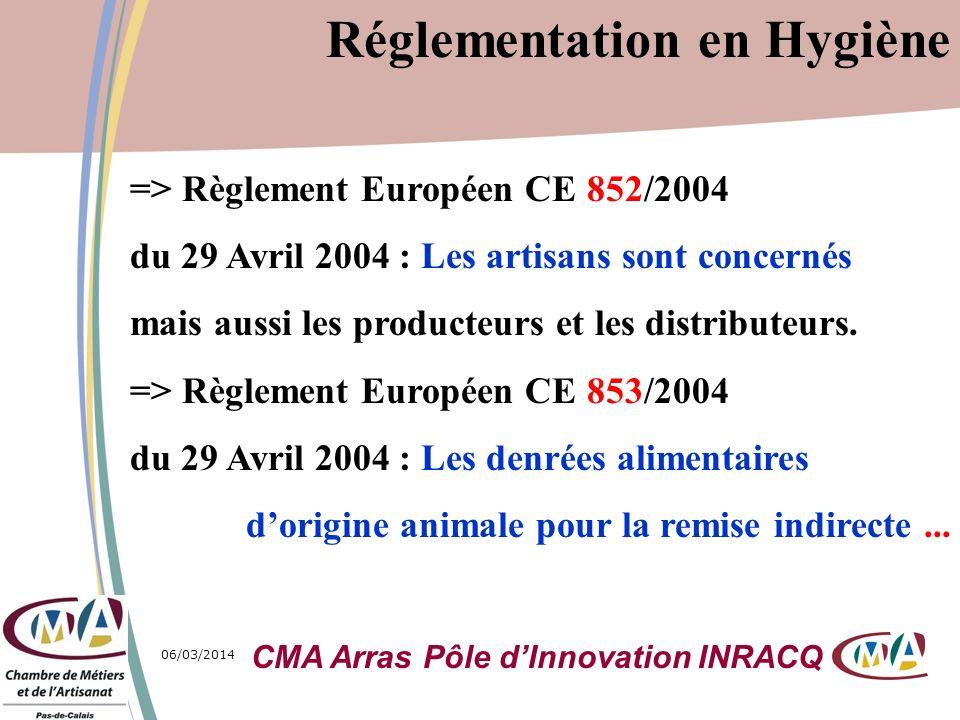 06/03/20144 => Règlement Européen CE 852/2004 du 29 Avril 2004 : Les artisans sont concernés mais aussi les producteurs et les distributeurs. => Règle