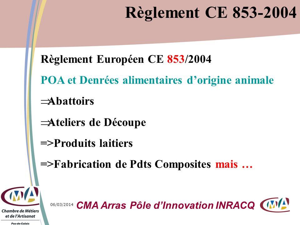 06/03/20147 Règlement Européen CE 853/2004 POA et Denrées alimentaires dorigine animale =>Cuisine Centrale (now agrément communautaire) =>Fabrication de Boyaux (id) =>Fabrication dOmelettes (id) =>Fabrication de Biscuits au beurre et aux œufs (id) =>Cash and Carry (id) Règlement CE 853-2004 CMA Arras Pôle dInnovation INRACQ