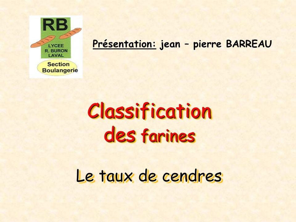 Classification des farines Le taux de cendres Classification des farines Le taux de cendres Présentation: jean – pierre BARREAU