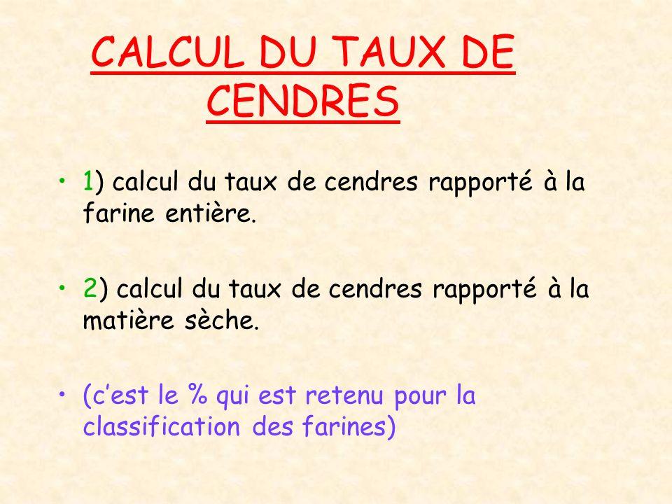 CALCUL DU TAUX DE CENDRES 1) calcul du taux de cendres rapporté à la farine entière. 2) calcul du taux de cendres rapporté à la matière sèche. (cest l