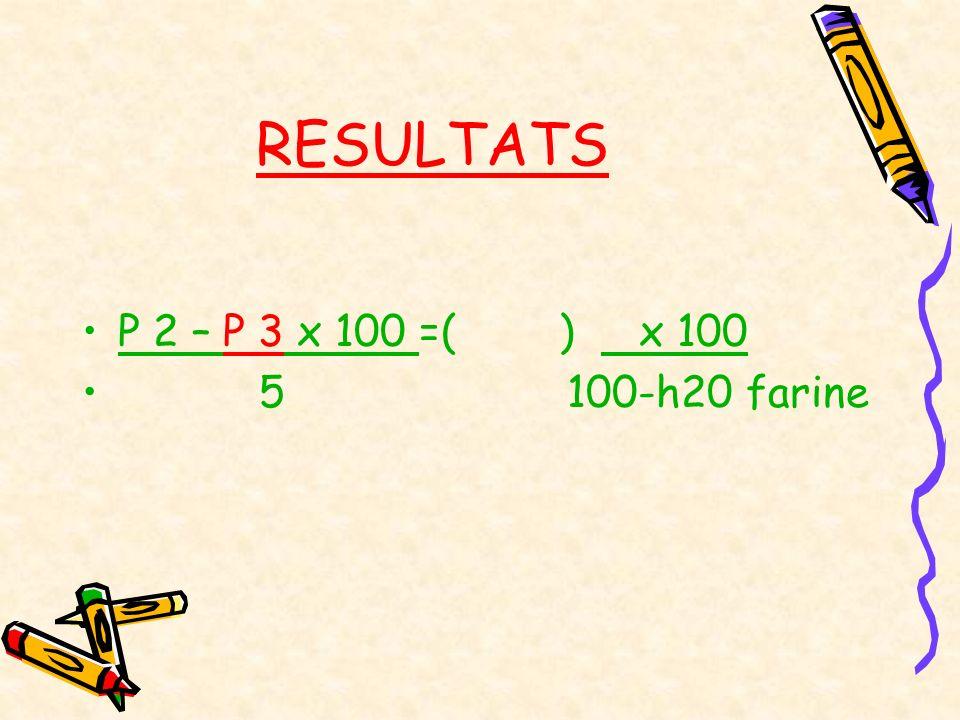 RESULTATS P 2 – P 3 x 100 =( ) x 100 5 100-h20 farine
