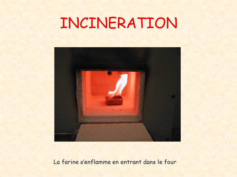 INCINERATION La farine senflamme en entrant dans le four