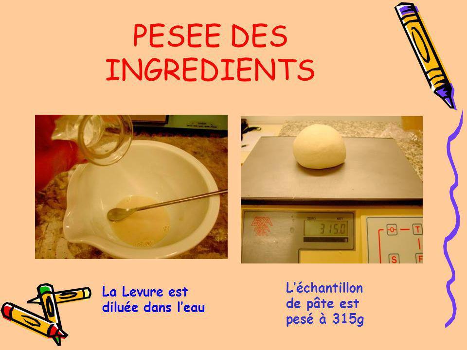 PESEE DES INGREDIENTS Quantité deau déterminée suivant lhydratation de la farine 7g de levure