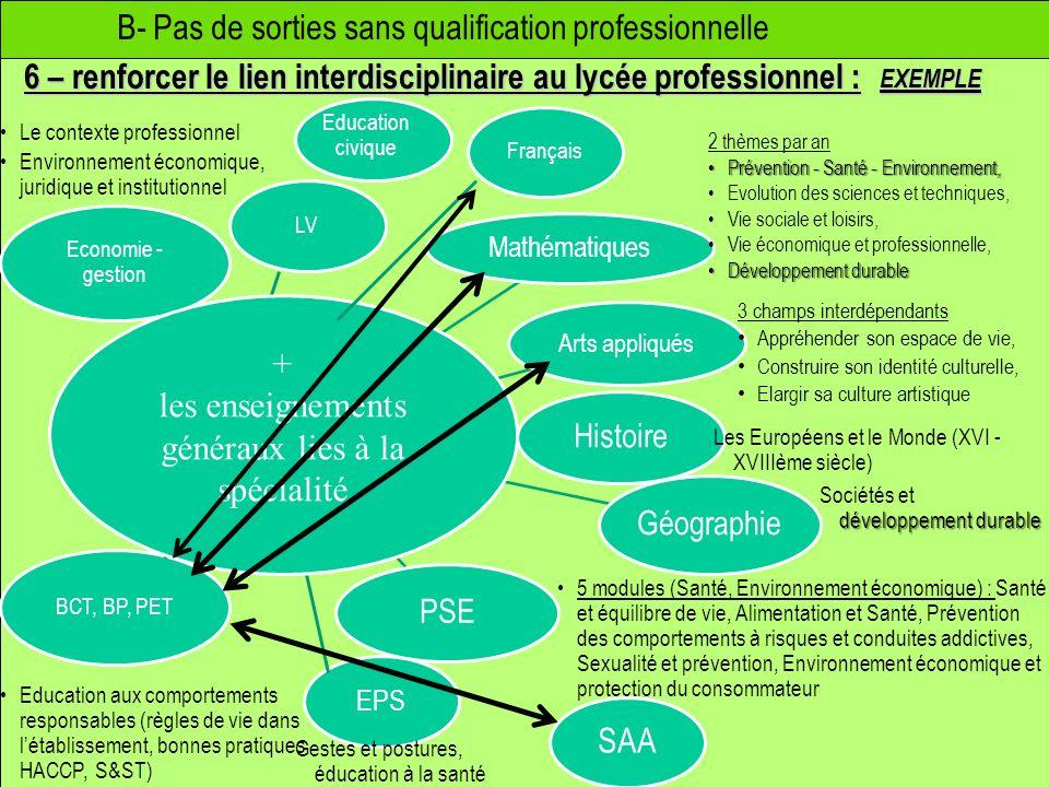 B- Pas de sorties sans qualification professionnelle 6 – renforcer le lien interdisciplinaire au lycée professionnel : Mathématiques Arts appliqués Hi