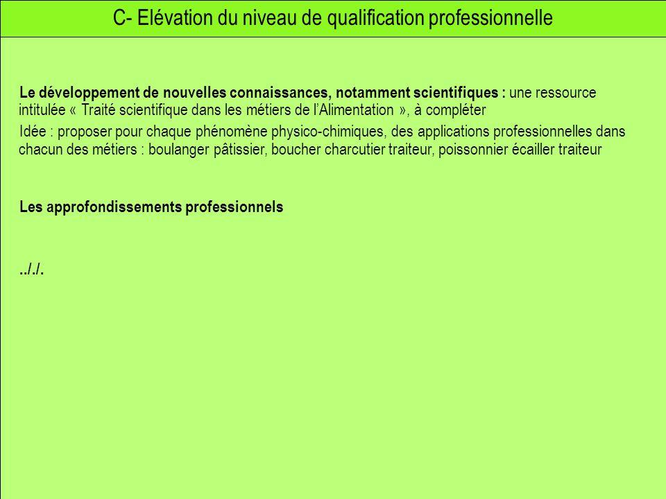 C- Elévation du niveau de qualification professionnelle Le développement de nouvelles connaissances, notamment scientifiques : une ressource intitulée