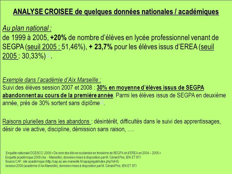 Au plan national : de 1999 à 2005, +20% de nombre délèves en lycée professionnel venant de SEGPA (seuil 2005 : 51,46%), + 23,7% pour les élèves issus dEREA (seuil 2005 : 30,33%) [1].