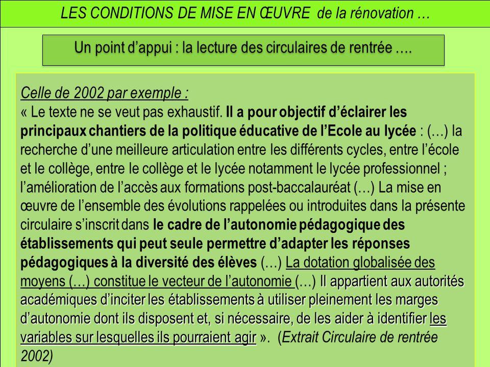 LES CONDITIONS DE MISE EN ŒUVRE de la rénovation … Un point dappui : la lecture des circulaires de rentrée …. Celle de 2002 par exemple : Il appartien