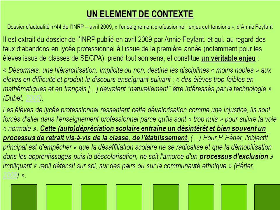 Il est extrait du dossier de lINRP publié en avril 2009 par Annie Feyfant, et qui, au regard des taux dabandons en lycée professionnel à lissue de la