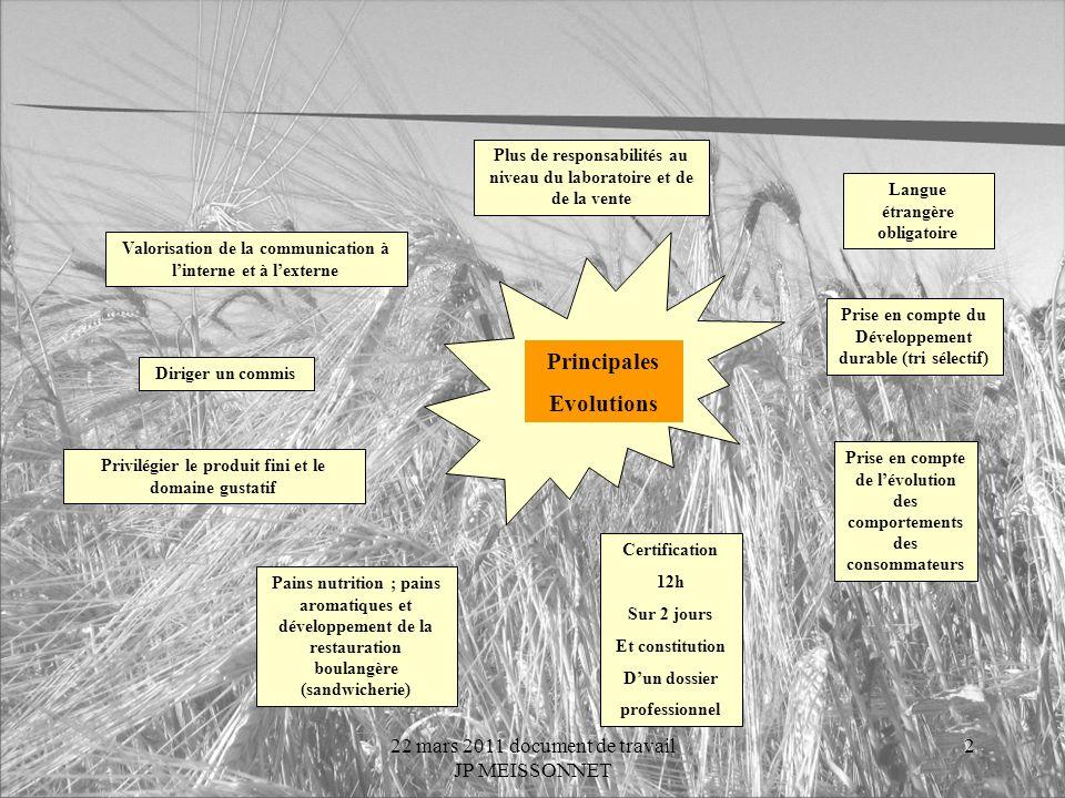 22 mars 2011 document de travail JP MEISSONNET 1 Rénovation du Brevet Professionnel Boulanger BP Boulanger 1992 Bac Pro Boulanger Pâtissier 2009 IV Br