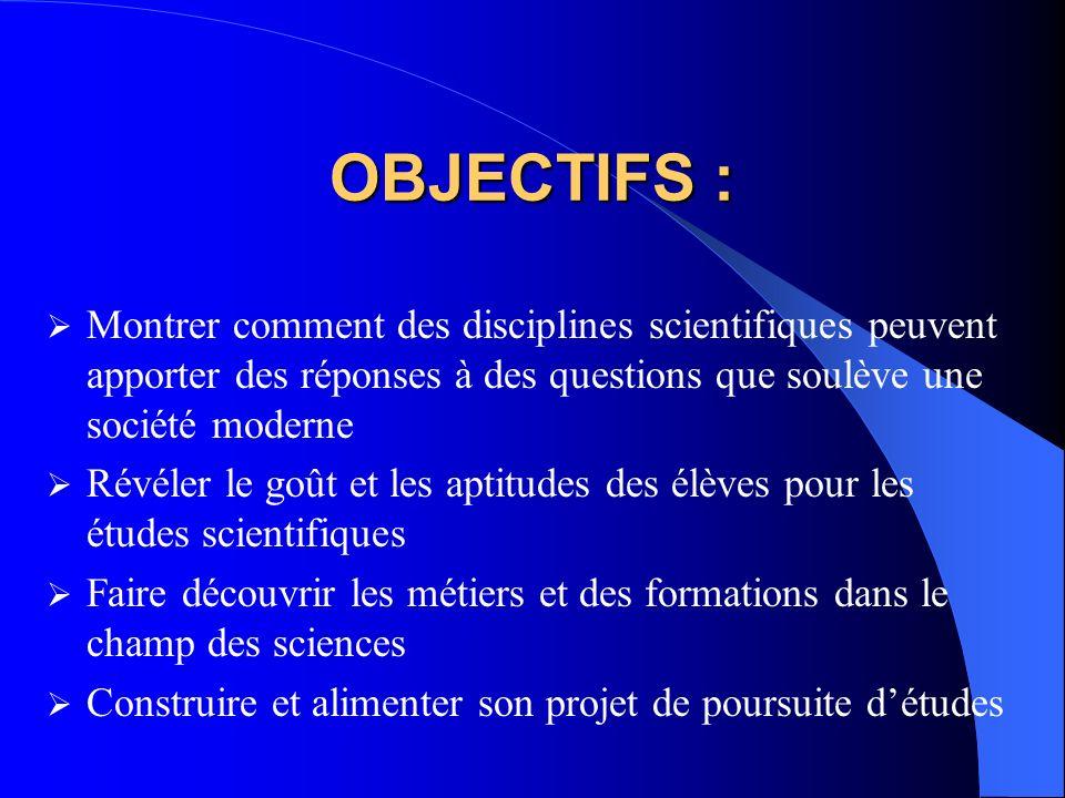 Les principes généraux Parmi 6 thèmes proposés, léquipe des professeurs choisit 2 ou 3 thèmes Chaque thème mobilise plusieurs champs disciplinaires