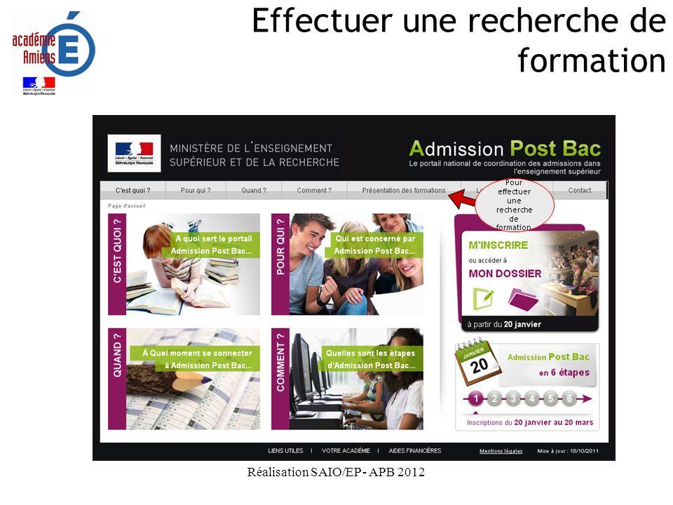 Réalisation SAIO/EP - APB 2012 Effectuer une recherche de formation