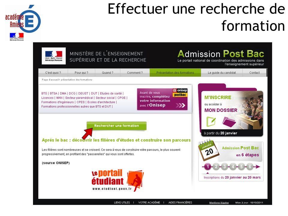 Réalisation SAIO/EP - APB 2012 Effectuer une recherche de formation Choix de formation par menu déroulant Possibilité daffiner la recherche