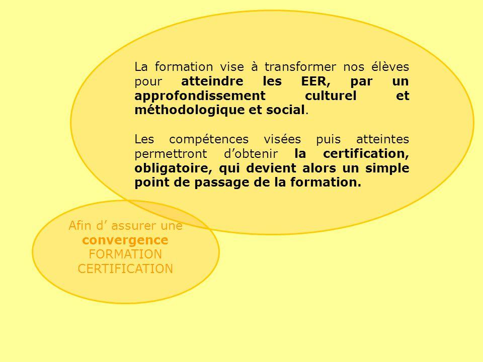La formation vise à transformer nos élèves pour atteindre les EER, par un approfondissement culturel et méthodologique et social.