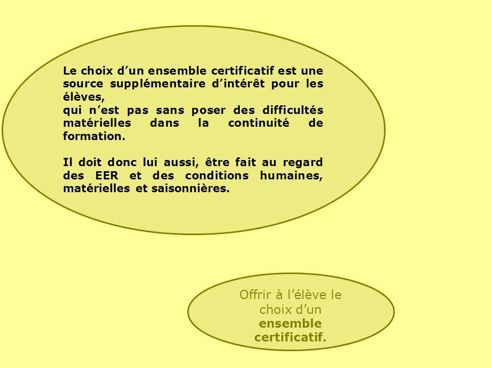 Le choix dun ensemble certificatif est une source supplémentaire dintérêt pour les élèves, qui nest pas sans poser des difficultés matérielles dans la continuité de formation.