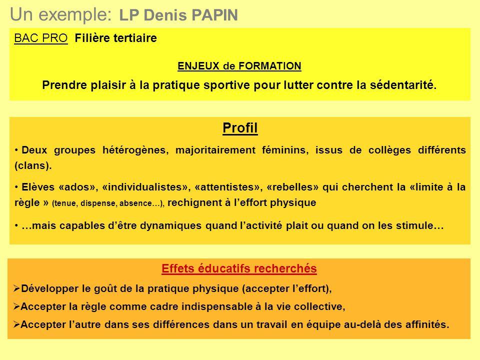 Un exemple: LP Denis PAPIN BAC PRO Filière tertiaire ENJEUX de FORMATION Prendre plaisir à la pratique sportive pour lutter contre la sédentarité.