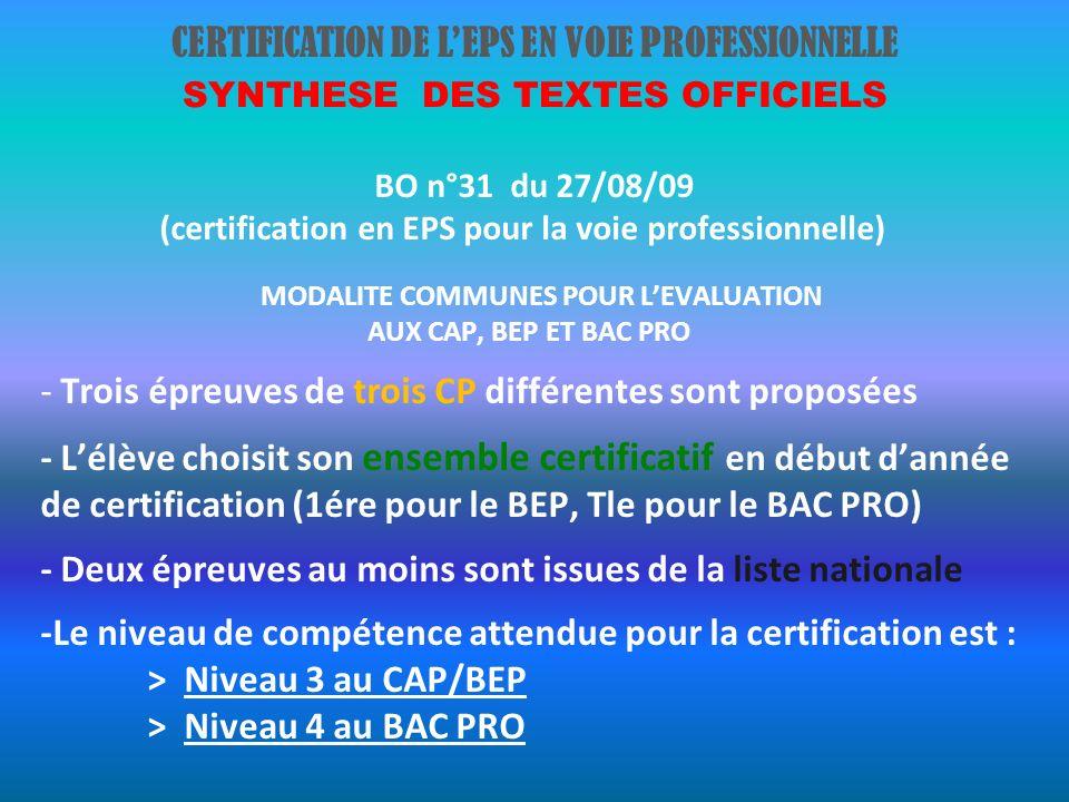 CERTIFICATION DE LEPS EN VOIE PROFESSIONNELLE SYNTHESE DES TEXTES OFFICIELS BO n°31 du 27/08/09 (certification en EPS pour la voie professionnelle) MODALITE COMMUNES POUR LEVALUATION AUX CAP, BEP ET BAC PRO - Trois épreuves de trois CP différentes sont proposées - Lélève choisit son ensemble certificatif en début dannée de certification (1ére pour le BEP, Tle pour le BAC PRO) - Deux épreuves au moins sont issues de la liste nationale -Le niveau de compétence attendue pour la certification est : > Niveau 3 au CAP/BEP > Niveau 4 au BAC PRO