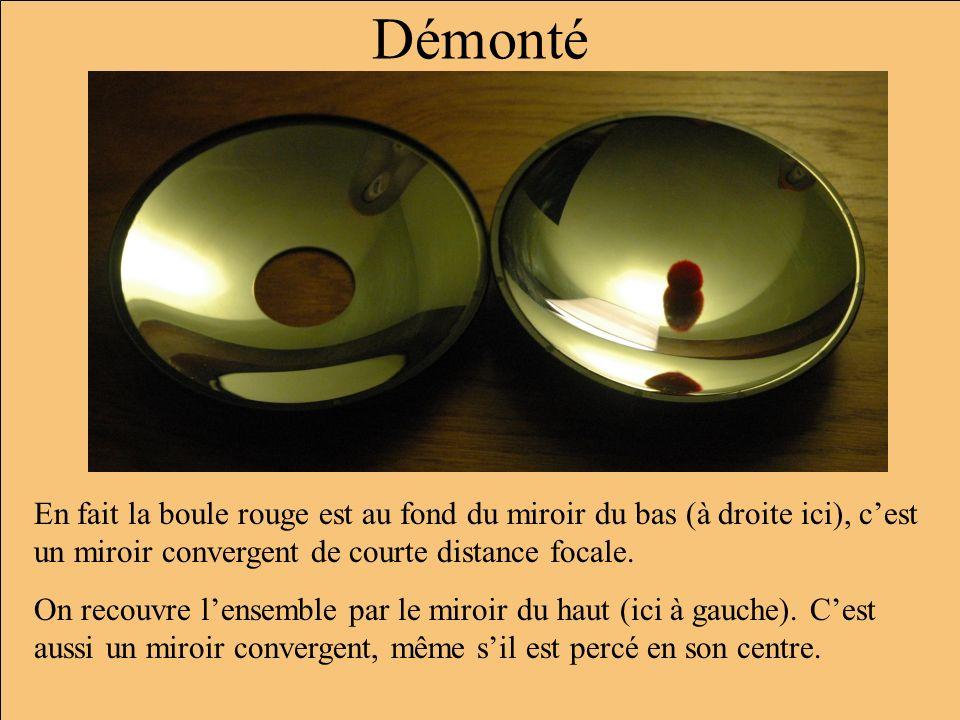 Démonté En fait la boule rouge est au fond du miroir du bas (à droite ici), cest un miroir convergent de courte distance focale. On recouvre lensemble