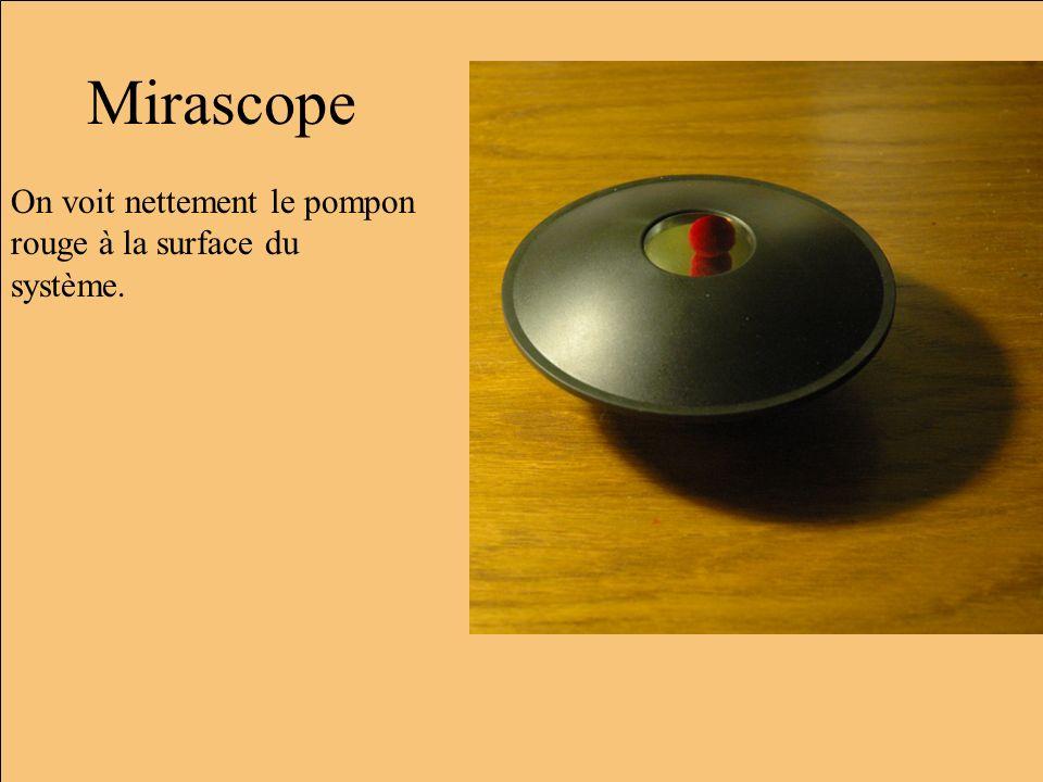 Démonté En fait la boule rouge est au fond du miroir du bas (à droite ici), cest un miroir convergent de courte distance focale.