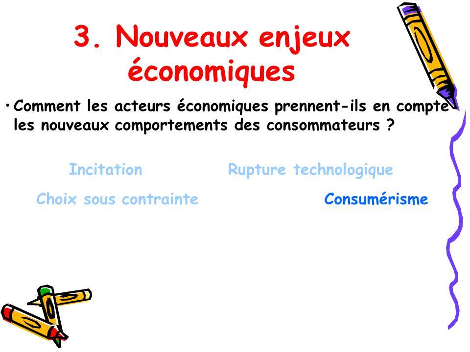 3. Nouveaux enjeux économiques Comment les acteurs économiques prennent-ils en compte les nouveaux comportements des consommateurs ? Incitation Choix