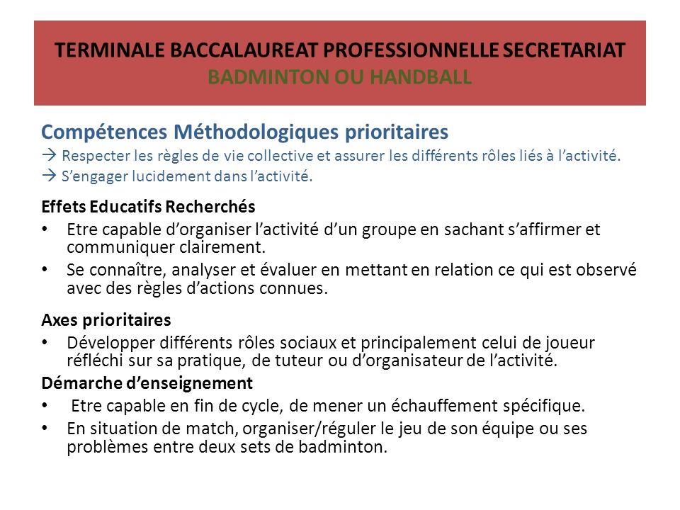 Compétences Méthodologiques prioritaires Respecter les règles de vie collective et assurer les différents rôles liés à lactivité.