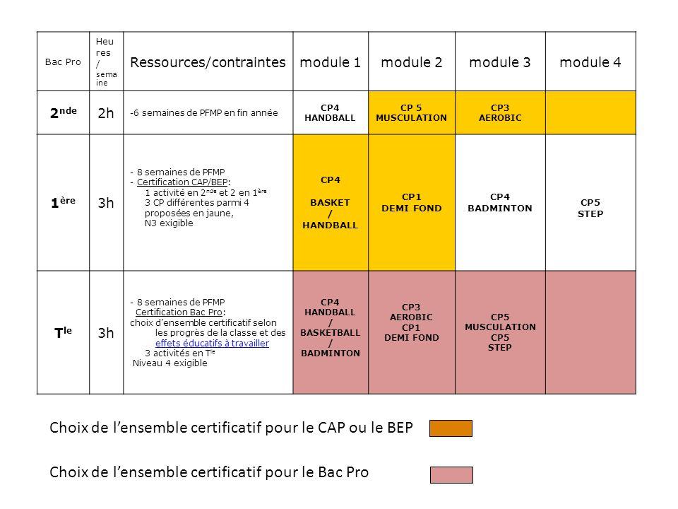 Bac Pro Heu res / sema ine Ressources/contraintesmodule 1module 2module 3module 4 2 nde 2h -6 semaines de PFMP en fin année CP4 HANDBALL CP 5 MUSCULATION CP3 AEROBIC 1 ère 3h - 8 semaines de PFMP - Certification CAP/BEP: 1 activité en 2 nde et 2 en 1 ère 3 CP différentes parmi 4 proposées en jaune, N3 exigible CP4 BASKET / HANDBALL CP1 DEMI FOND CP4 BADMINTON CP5 STEP T le 3h - 8 semaines de PFMP Certification Bac Pro: choix densemble certificatif selon les progrès de la classe et des effets éducatifs à travailler effets éducatifs à travailler 3 activités en T le Niveau 4 exigible CP4 HANDBALL / BASKETBALL / BADMINTON CP3 AEROBIC CP1 DEMI FOND CP5 MUSCULATION CP5 STEP Choix de lensemble certificatif pour le CAP ou le BEP Choix de lensemble certificatif pour le Bac Pro