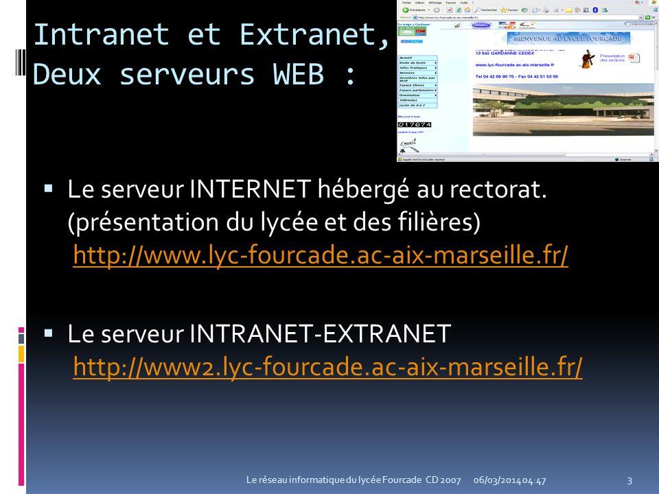 Intranet et Extranet, Deux serveurs WEB : Le serveur INTERNET hébergé au rectorat. (présentation du lycée et des filières) http://www.lyc-fourcade.ac-