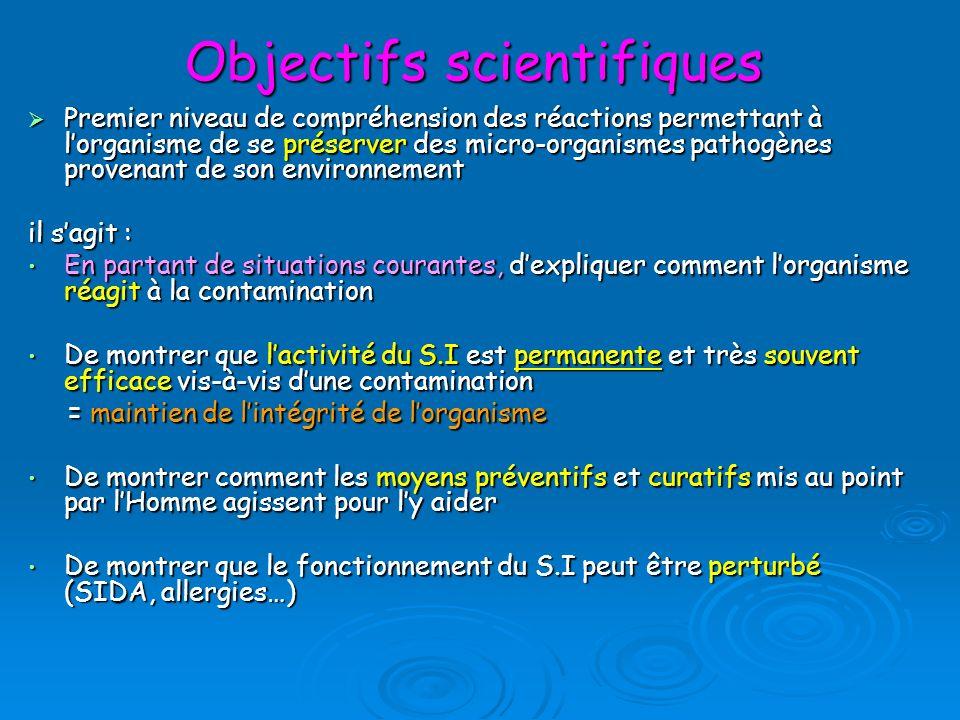Objectifs scientifiques Premier niveau de compréhension des réactions permettant à lorganisme de se préserver des micro-organismes pathogènes provenan