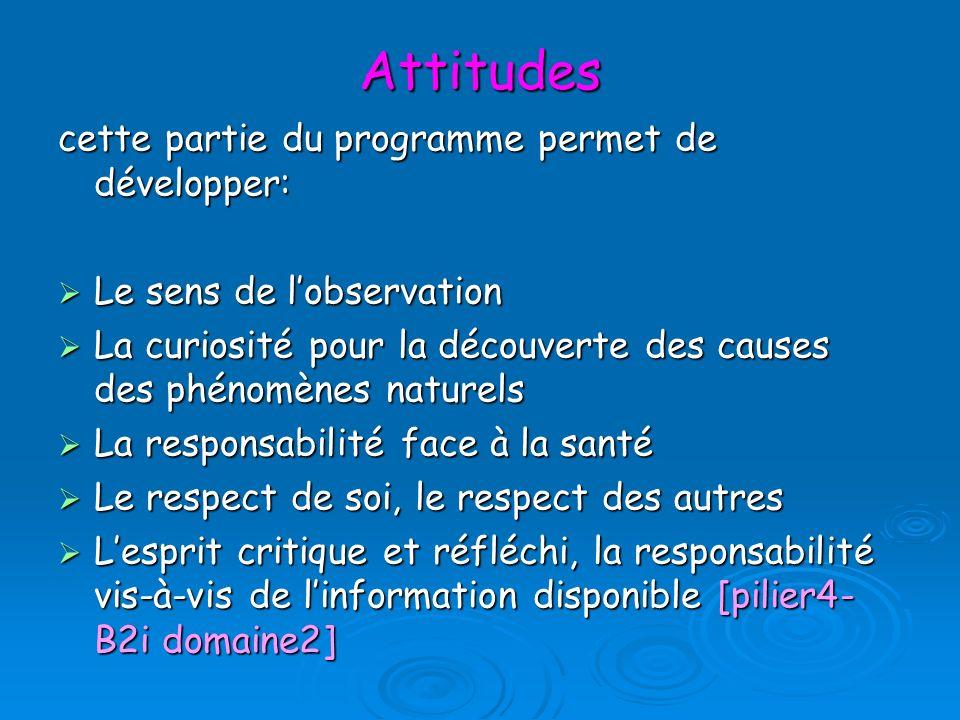Attitudes cette partie du programme permet de développer: Le sens de lobservation Le sens de lobservation La curiosité pour la découverte des causes d