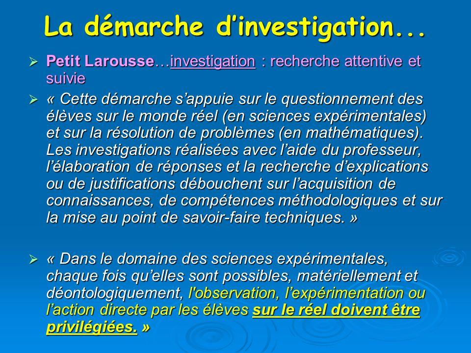 La démarche dinvestigation... Petit Larousse…investigation : recherche attentive et suivie Petit Larousse…investigation : recherche attentive et suivi
