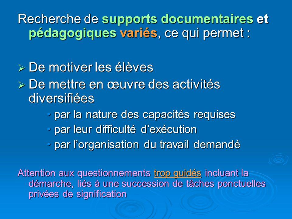 Recherche de supports documentaires et pédagogiques variés, ce qui permet : De motiver les élèves De motiver les élèves De mettre en œuvre des activit