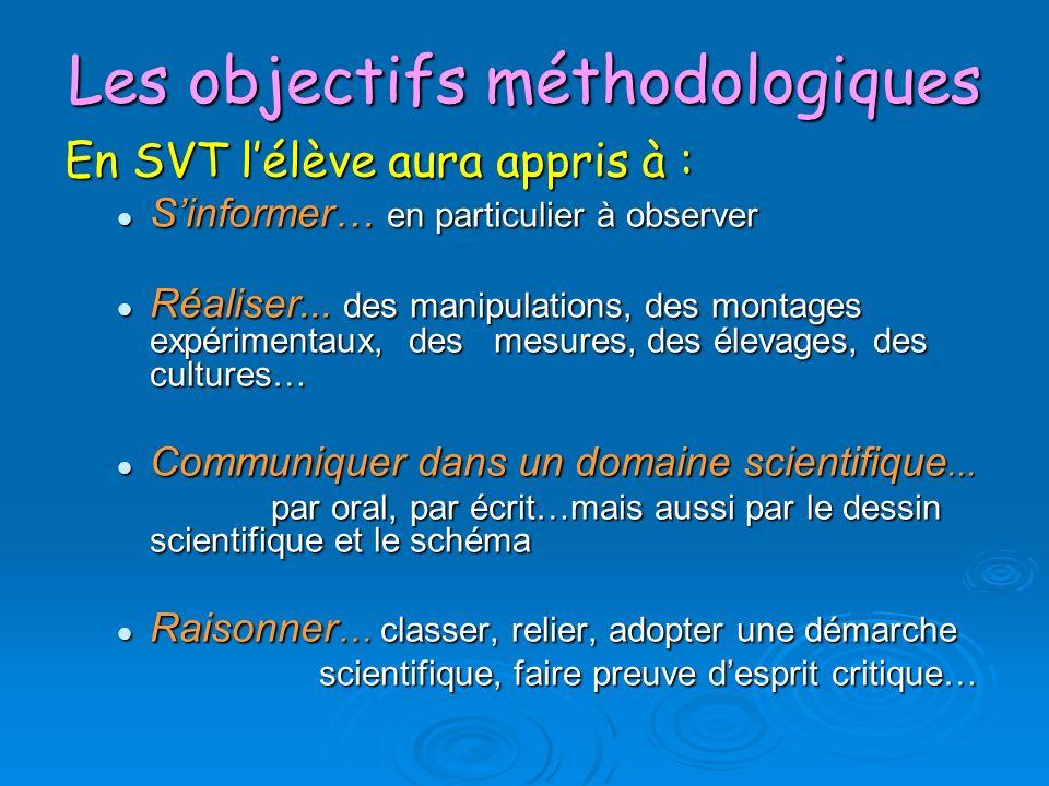Les objectifs méthodologiques En SVT lélève aura appris à : Sinformer… en particulier à observer Sinformer… en particulier à observer Réaliser... des