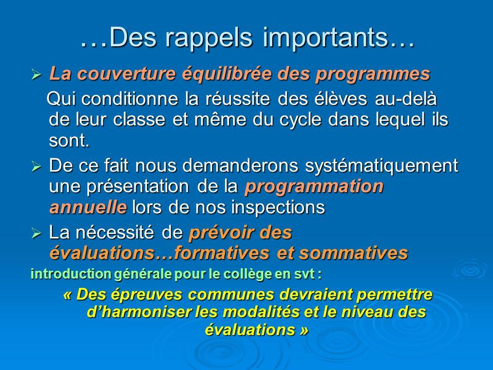 … Des rappels importants… La couverture équilibrée des programmes La couverture équilibrée des programmes Qui conditionne la réussite des élèves au-de