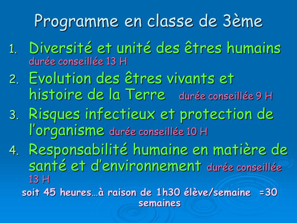 Programme en classe de 3ème 1.Diversité et unité des êtres humains durée conseillée 13 H 2.