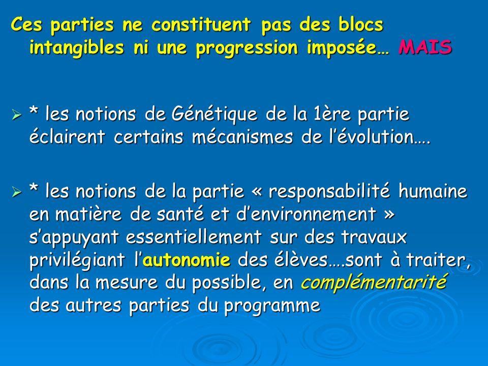Ces parties ne constituent pas des blocs intangibles ni une progression imposée… MAIS * les notions de Génétique de la 1ère partie éclairent certains mécanismes de lévolution….