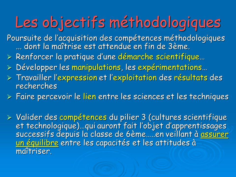 Les objectifs méthodologiques Poursuite de lacquisition des compétences méthodologiques...
