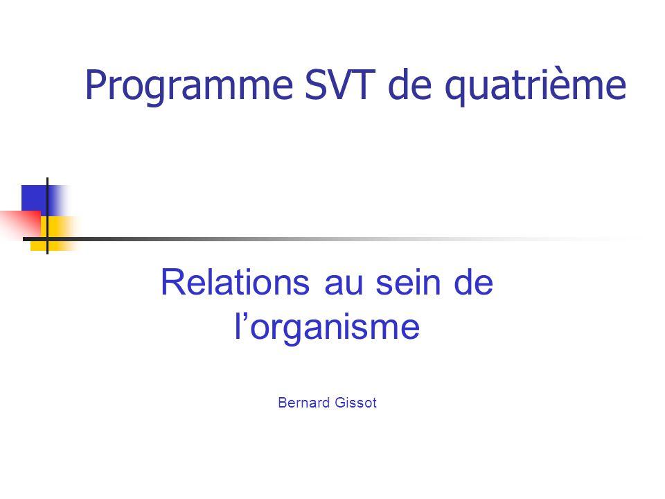 Programme SVT de quatrième Relations au sein de lorganisme Bernard Gissot