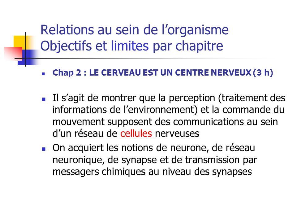 Relations au sein de lorganisme Objectifs et limites par chapitre Chap 2 : LE CERVEAU EST UN CENTRE NERVEUX (3 h) Il sagit de montrer que la perception (traitement des informations de lenvironnement) et la commande du mouvement supposent des communications au sein dun réseau de cellules nerveuses On acquiert les notions de neurone, de réseau neuronique, de synapse et de transmission par messagers chimiques au niveau des synapses