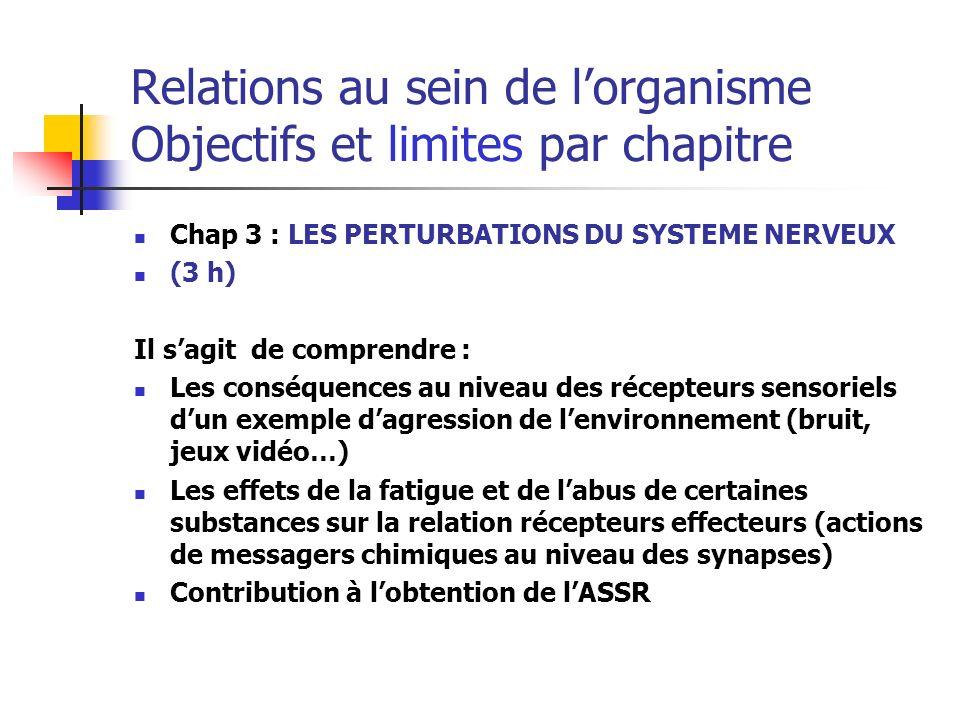 Relations au sein de lorganisme Objectifs et limites par chapitre Chap 3 : LES PERTURBATIONS DU SYSTEME NERVEUX (3 h) Il sagit de comprendre : Les con