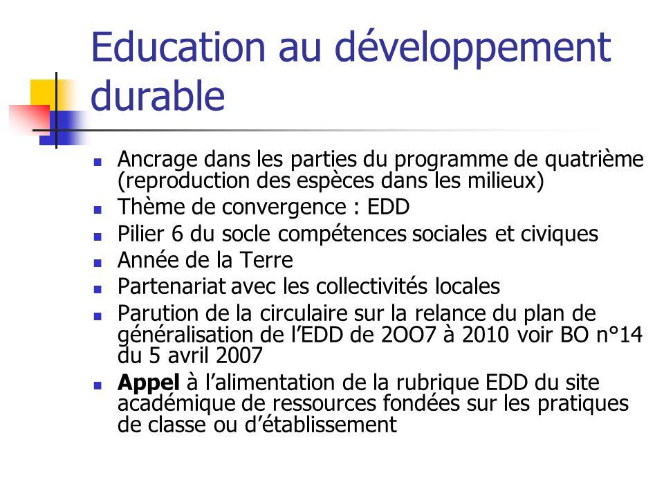 Education au développement durable Ancrage dans les parties du programme de quatrième (reproduction des espèces dans les milieux) Thème de convergence