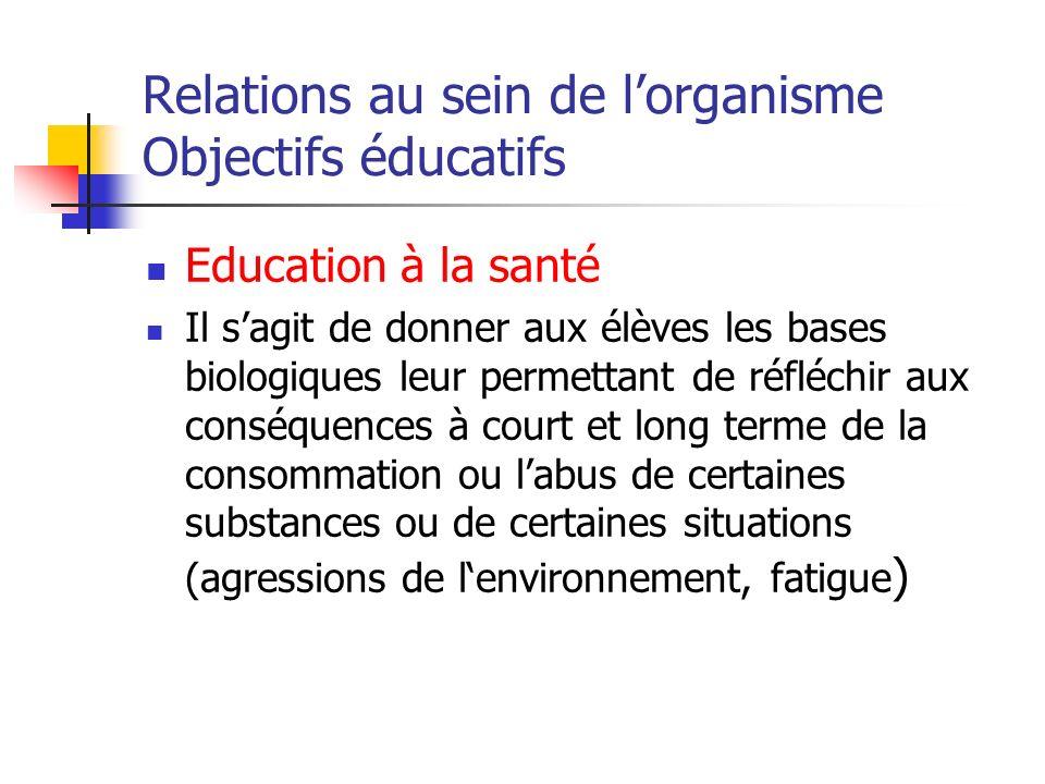 Relations au sein de lorganisme Objectifs éducatifs Education à la santé Il sagit de donner aux élèves les bases biologiques leur permettant de réfléc