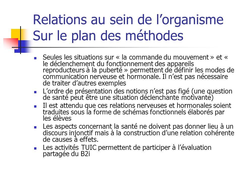 Relations au sein de lorganisme Sur le plan des méthodes Seules les situations sur « la commande du mouvement » et « le déclenchement du fonctionnemen