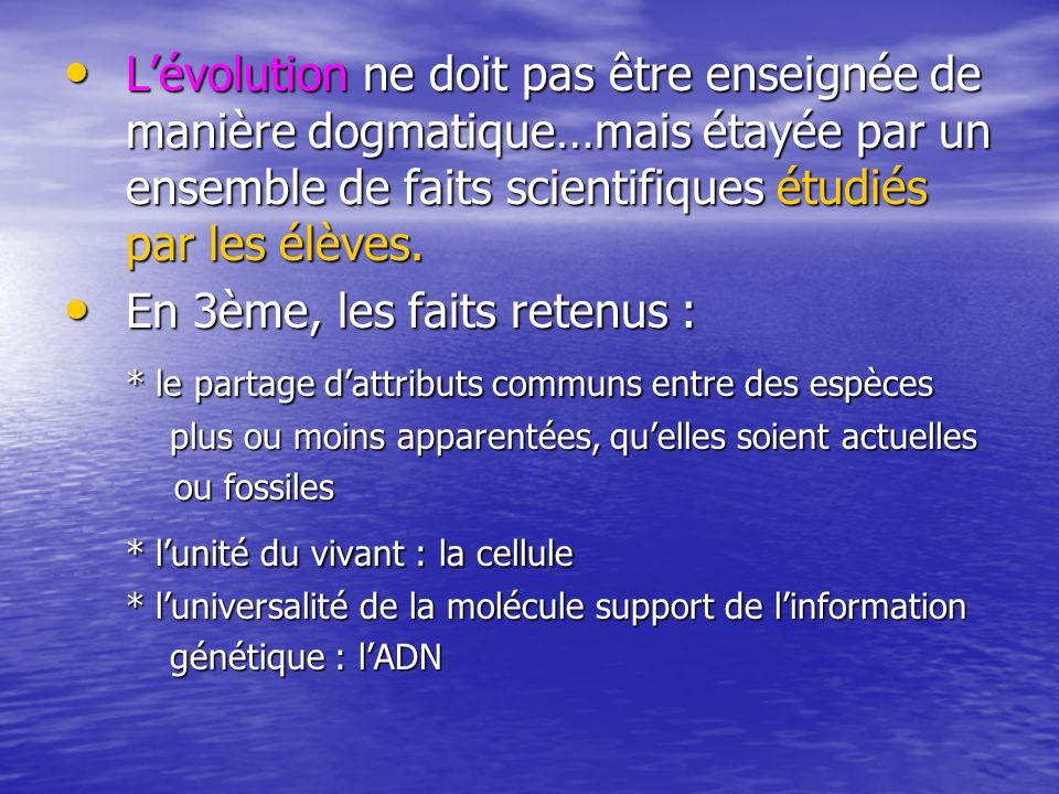 Lévolution ne doit pas être enseignée de manière dogmatique…mais étayée par un ensemble de faits scientifiques étudiés par les élèves. Lévolution ne d
