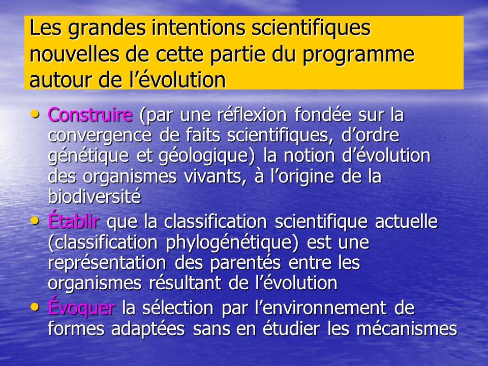 Les grandes intentions scientifiques nouvelles de cette partie du programme autour de lévolution Construire (par une réflexion fondée sur la convergen
