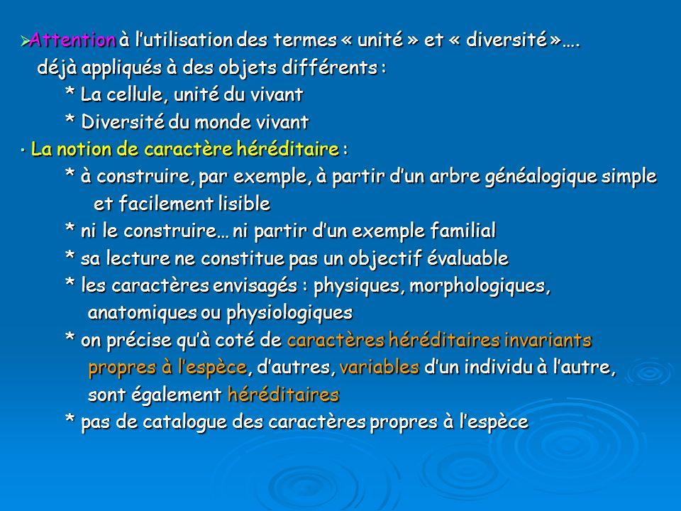 Attention à lutilisation des termes « unité » et « diversité »….