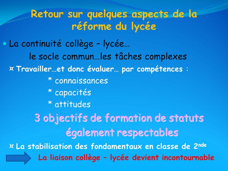 Retour sur quelques aspects de la réforme du lycée La continuité collège – lycée… le socle commun…les tâches complexes ¤ Travailler…et donc évaluer… p