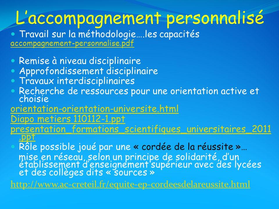 Laccompagnement personnalisé Travail sur la méthodologie….les capacités accompagnement-personnalise.pdf Remise à niveau disciplinaire Approfondissemen
