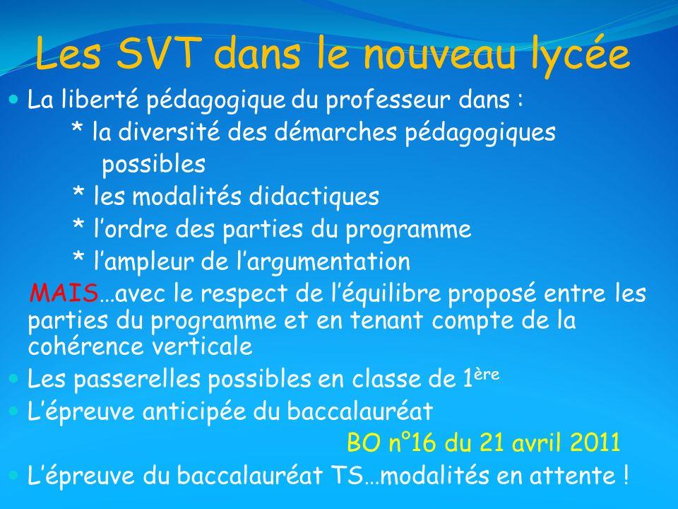 Les SVT dans le nouveau lycée La liberté pédagogique du professeur dans : * la diversité des démarches pédagogiques possibles * les modalités didactiq