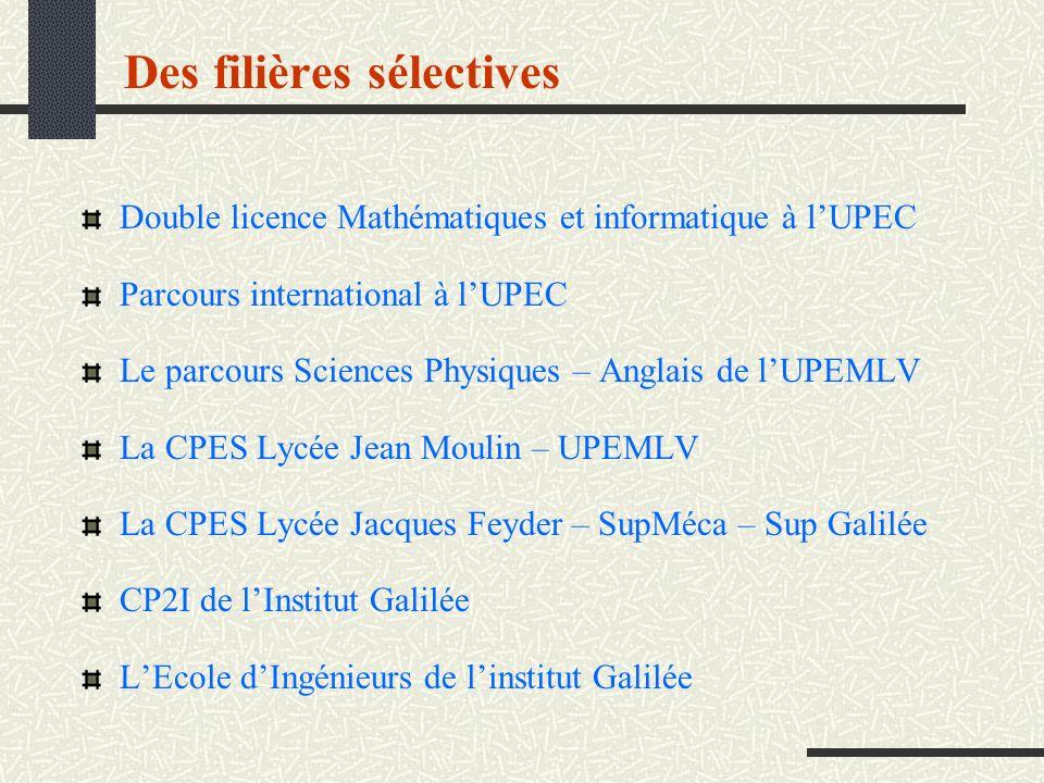 Des filières sélectives Double licence Mathématiques et informatique à lUPEC Parcours international à lUPEC Le parcours Sciences Physiques – Anglais d